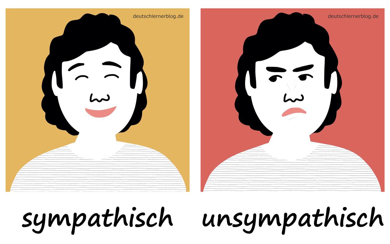sympathisch - unsympathisch- Adjektive - Deutsch Adjektive - deutsche Adjektive - Adjektive Deutsch - Adjektive Übungen - Wortschatz Deutsch - Adjektive Bilder - Adjektive mit Bildern