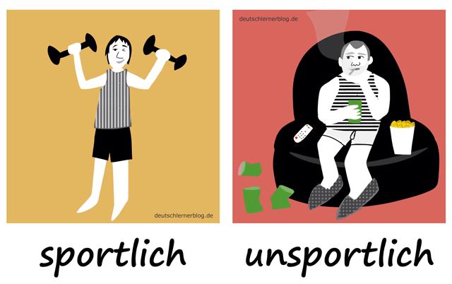 sportlich - unsportlich- Adjektive - Deutsch Adjektive - deutsche Adjektive - Adjektive Deutsch - Adjektive Übungen - Wortschatz Deutsch Adjektive - Adjektive Bilder - Adjektive mit Bildern