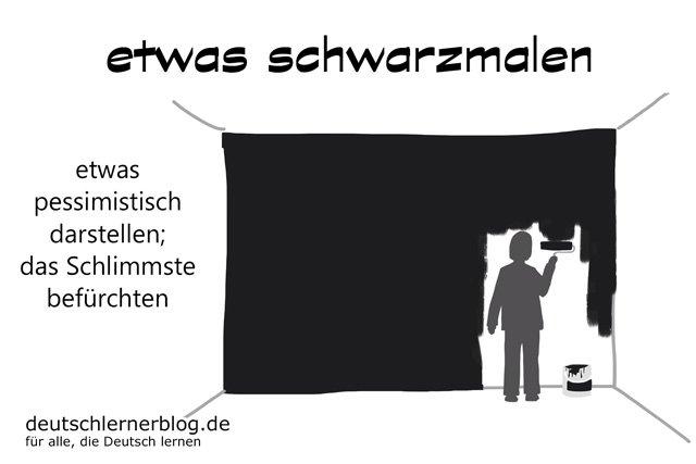 schwarzmalen - Schwarzmaler - Deutsch lernen - Schwarzmalerei - Pessimismus - pessimistisch - Pessimist