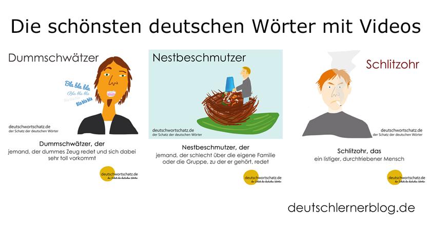 die schönsten deutschen Wörter - Dummschwätzer - Nestbeschmutzer - Schlitzohr - Deutsch Wortschatz - Wortschatz lernen