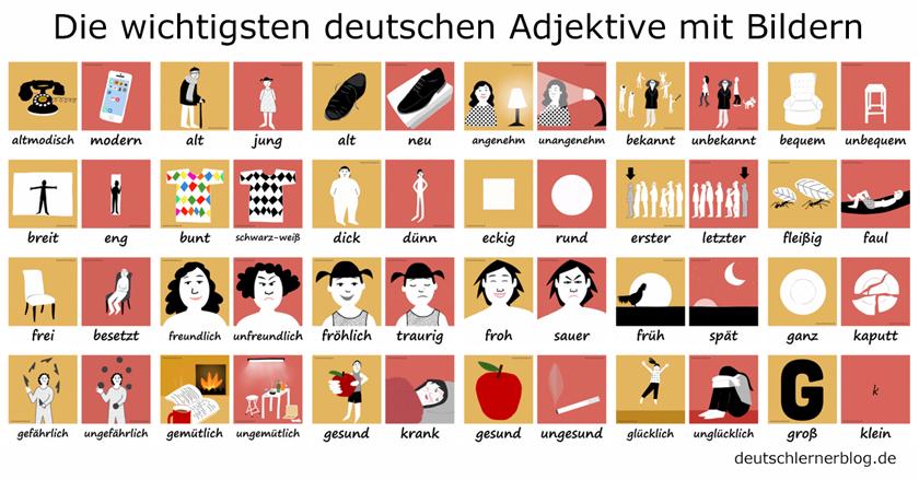 Deutsche Adjektive mit Bildern - Adjektive lernen - Deutsch lernen - Wortschatz Adjektive - Adjektive Deutsch