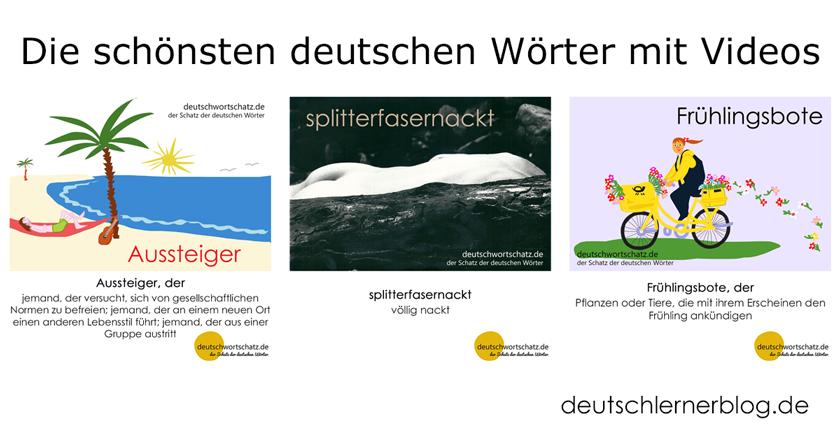 schönste deutsche Wörter - Aussteiger - splitterfasernackt - Frühlingsbote - Deutsch Wortschatz - Wortschatz lernen