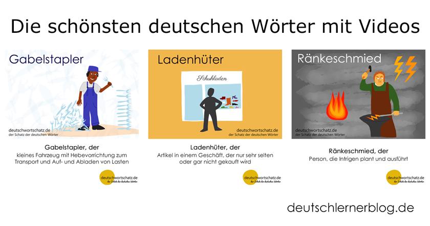 lernen mit Videos - die schönsten deutschen Wörter mit Videos - schönste deutsche Wörter - Gabelstapler - Ladenhüter - Ränkeschmied - Deutsch Wortschatz - Wortschatz lernen