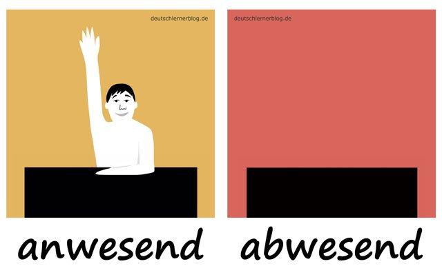 Bilderlexikon Adjektive - Adjektive lernen - Wortschatzbilder - Wortschatz Adjektive - Wortschatz mit Bildern - anwesend - abwesend