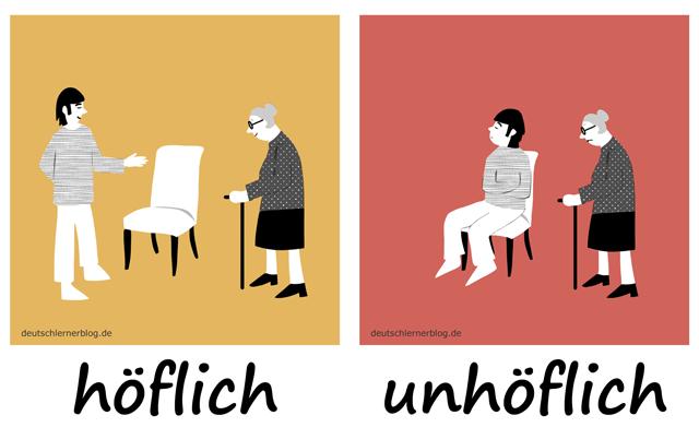 Bilderlexikon Adjektive - Adjektive lernen - Wortschatzbilder - Wortschatz Adjektive - Wortschatz mit Bildern - höflich - unhöflich