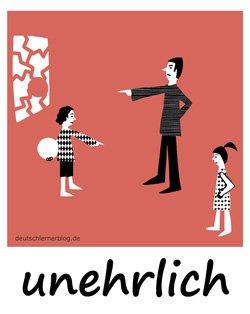 unehrlich - Adjektive - Bilder - Wortschatz Bilder - Wortschatzbilder - Bilderlexikon - Vokabeln mit Bildern