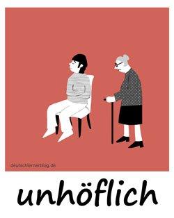 unhöflich - Adjektive - Bilder - Wortschatz Bilder - Wortschatzbilder - Bilderlexikon - Vokabeln mit Bildern
