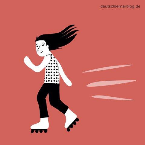 Inline skaten - Rollschuhe - unvorsichtig - Adjektive - Bilder - Wortschatz Bilder - Wortschatzbilder - Bilderlexikon - Vokabeln mit Bildern