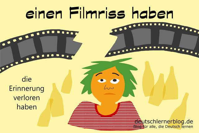 Filmriss haben - Redewendungen Bilder - Wortschatz Bilder - Deutsch lernen - Deutschlernerblog