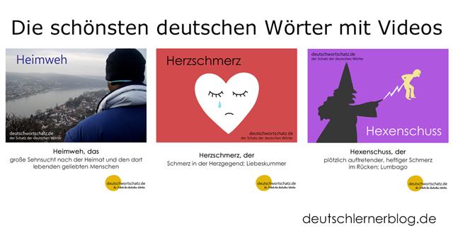 schöne deutsche Wörter lernen - Heimweh - Herzschmerz - Hexenschuss - schöne deutsche Wörter