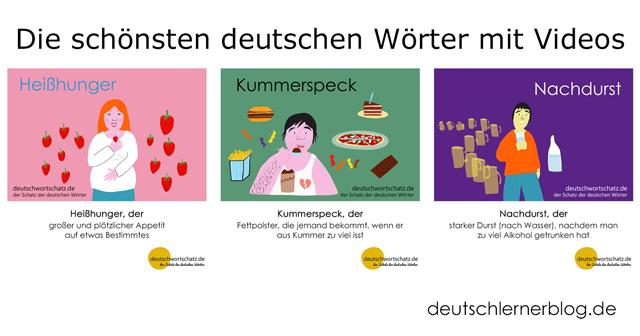 Wortschatz mit Bildern lernen - Heißhunger - Kummerspeck - Nachdurst