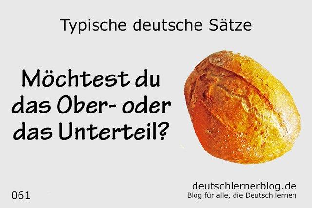 Sätze auf Deutsch lernen - Möchtest du das Ober- oder das Unterteil.