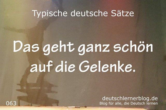 Das geht ganz schön auf die Gelenke - wichtige Sätze auf Deutsch lernen