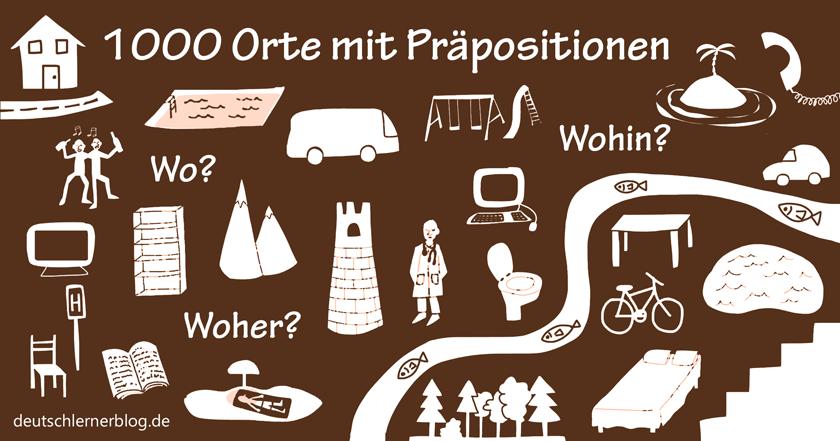 Präpositionen - lokale Präpositionen - 1000 Orte mit Präpositionen - Welche Präposition