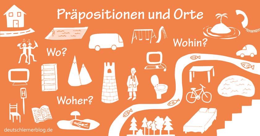 Präpositionen Deutsch - lokale Präpositionen - Ortsangaben Deutsch - Präpositionen Übungen - Wo? Wohin? Woher?