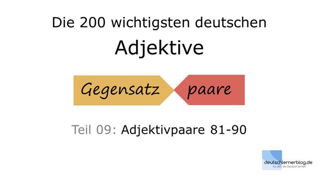 Adjektive lernen - 200 wichtigste deutsche Adjektive mit Bildern, 09/10