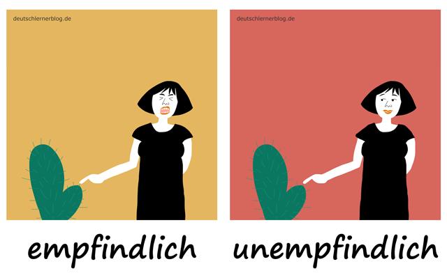 empfindlich - unempfindlich - schmerzempfindlich - sensibel - Liste Adjektive - deutsch Adjektive Liste
