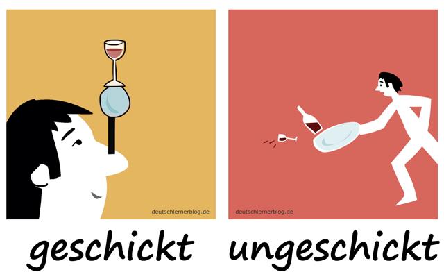 geschickt - ungeschickt - Geschicklichkeit - Adjektive lernen - 200 wichtigste deutsche Adjektive mit Bildern - Wortschatz mit Bildern