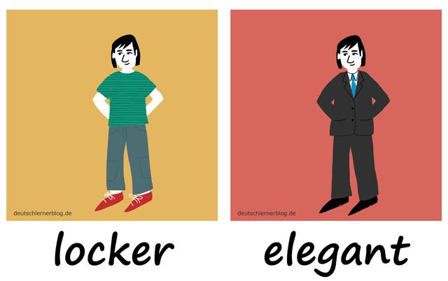 locker - elegant - Kleidung - salopp - Liste Adjektive - deutsch Adjektive Liste