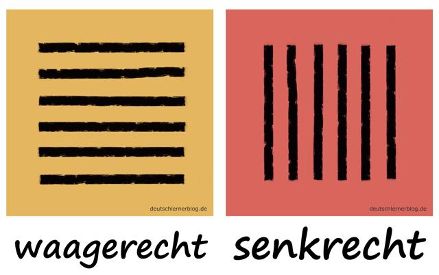 waagerecht - senkrecht - vertikal - horizontal - Liste Adjektive - deutsch Adjektive Liste