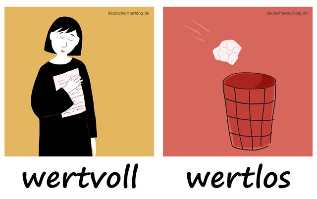 wertvoll - wertlos - kostbar - Liste Adjektive - deutsch Adjektive Liste