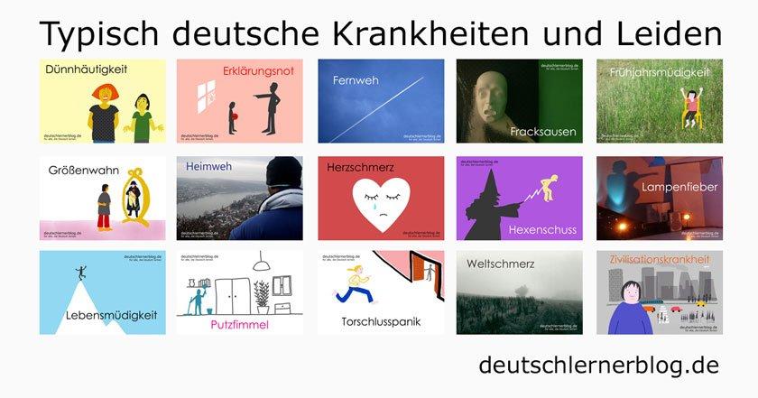 besondere Deutsche Wörter - deutsche Krankheiten und Leiden