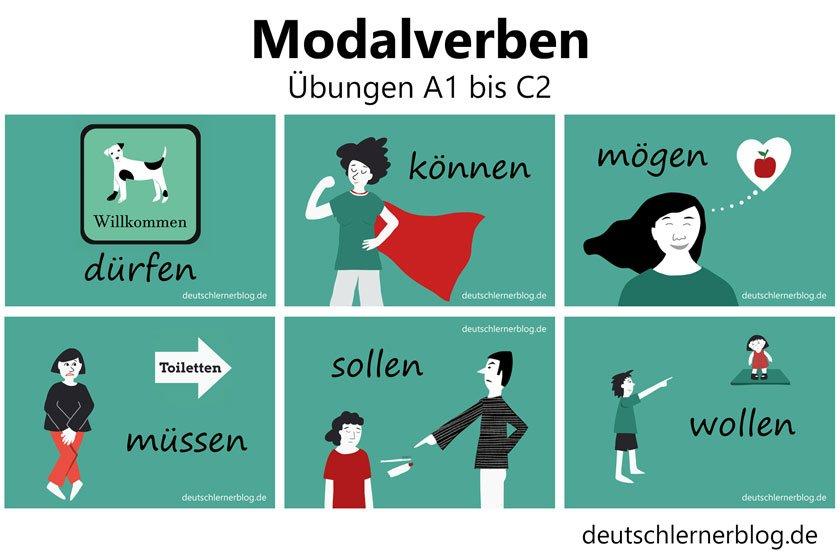 Modalverben Übungen A1 bis C2 - Deutsch lernen mit Deutschlernerblog
