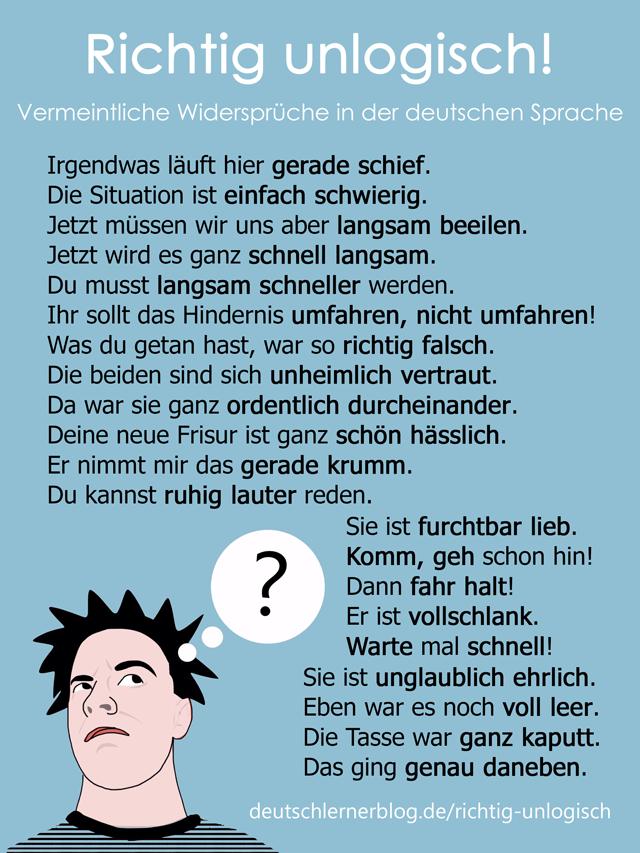 Widersprüche - deutsche Sprache - deutsche Sätze -
