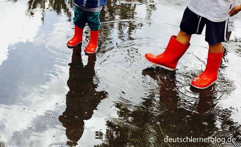 Wetter vorhersagen - Wettervorhersage - Regentag - Gummistiefel