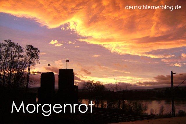 Morgenrot - Wortschatz lernen - Vokabeln lernen - Deutsch lernen - mit Bildern lernen