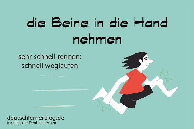die Beine in die Hand nehmen - deutsche Redewendungen mit Bildern - delia tello