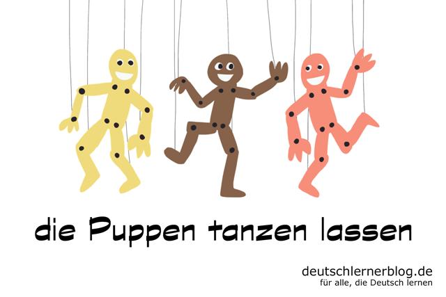 die Puppen tanzen lassen - Illustration von Delia Tello