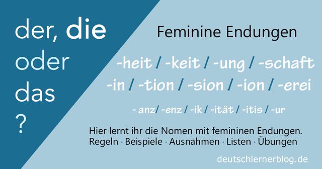 Feminine Nomen - Feminine Endungen - Artikel und Endung