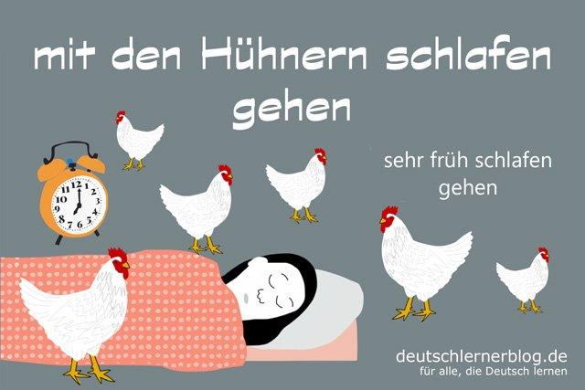 mit den Hühnern schlafen gehen - deutsche Redewendungen mit Bildern - delia tello