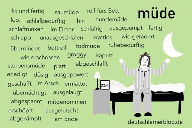 andere Wörter für müde - Synonyme für müde - müde