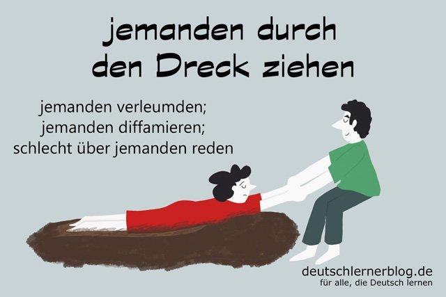 durch den Dreck ziehen - Redewendungen mit Bildern - Sprache mit Bildern lernen - Deutsch mit Bildern lernen