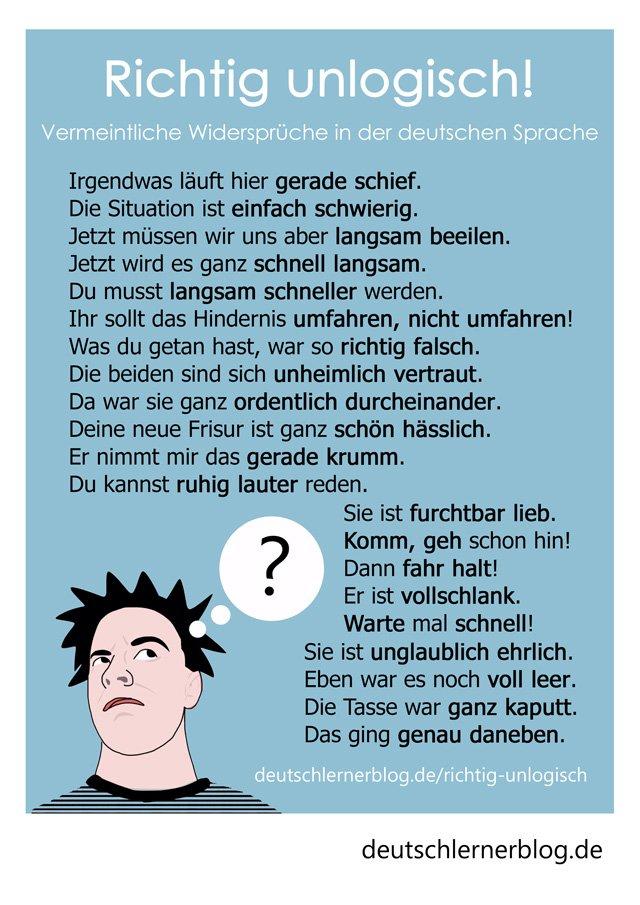 Postkarte - Poster - richtig unlogische deutsche Sätze