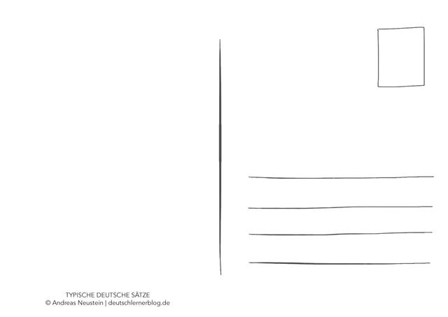 Postkarte - typische deutsche Sätze