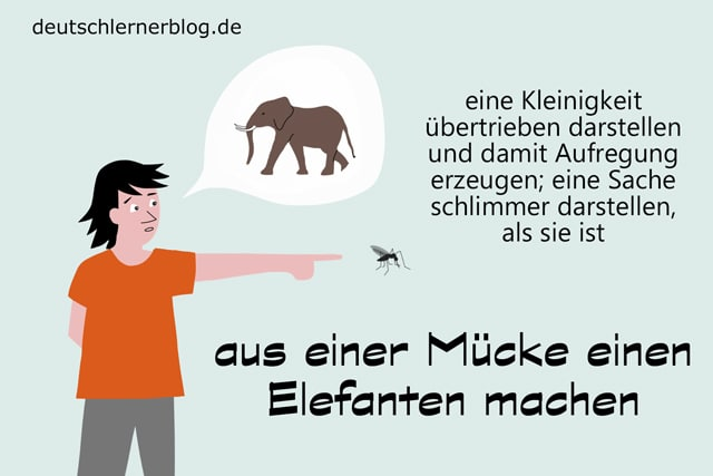 Redewendungen - aus einer Mücke einen Elefanten machen