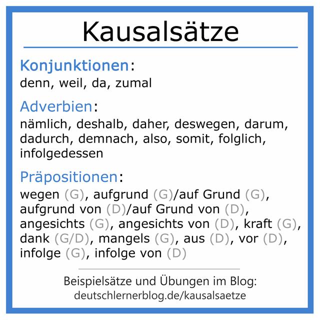 Kausalsatz - Kausalsätze - kausale Konnektoren - Konjunktionen - Adverbien - Präpositionen