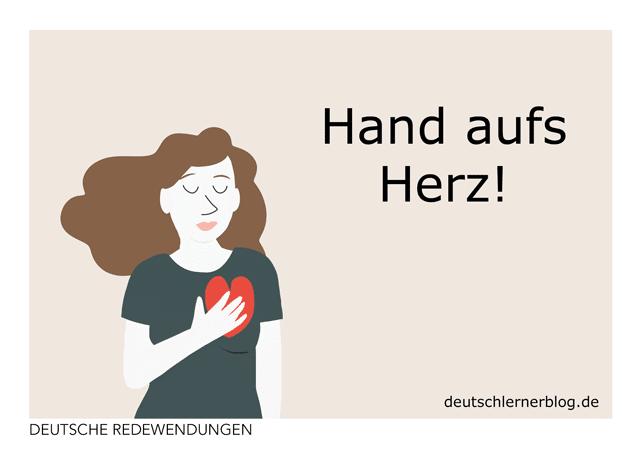 Hand aufs Herz - Redewendung - Postkarte