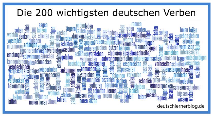 200 wichtige deutsche Verben - die 200 wichtigsten deutschen Verben