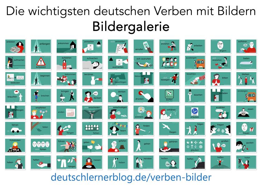 illustrierte Verben - Verben illustriert - Bilder Verben - Verben Bilder