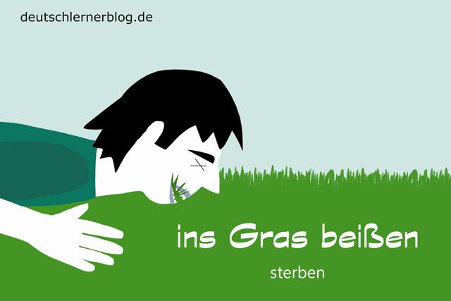 ins Gras beißen - Redewendungen mit Bildern