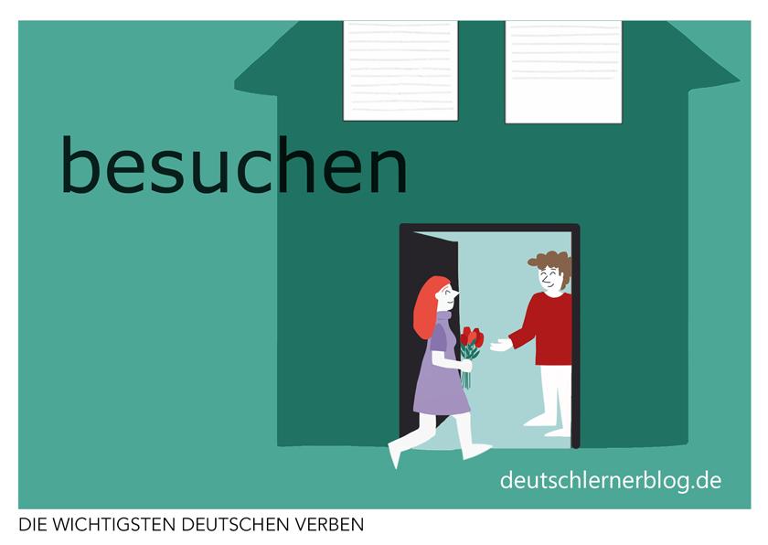 besuchen - illustrierte Verben