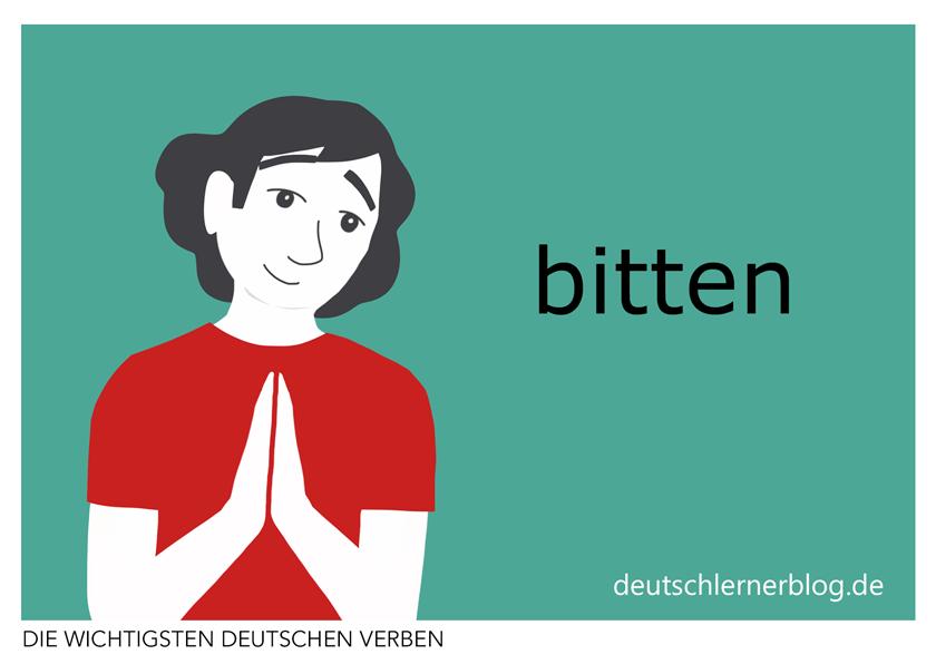 bitten - illustrierte Verben