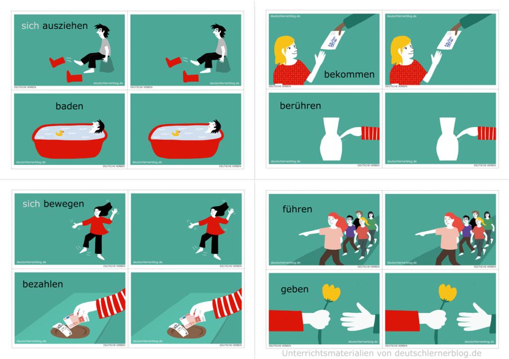 200 deutsche Verben - Bildkarten - illustrierte Verben