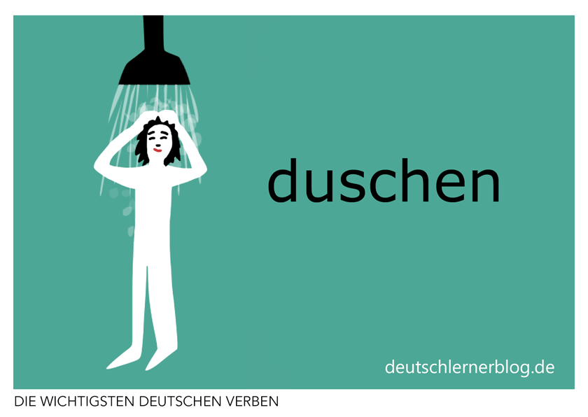 duschen - Verben illustriert