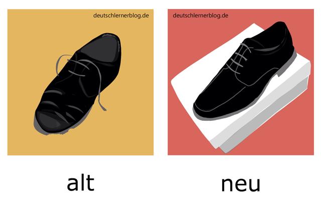 alt - neu - Schuhe - Adjektive