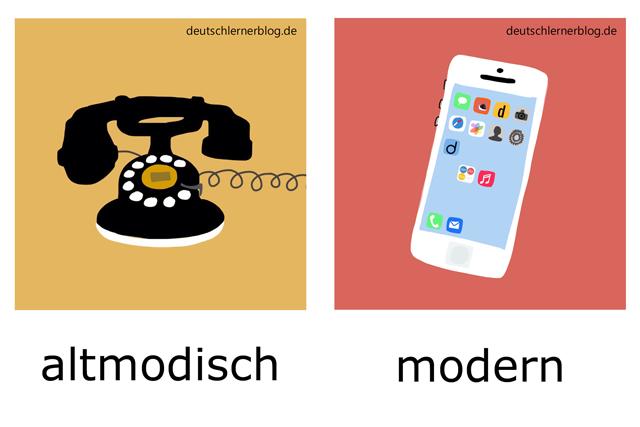 altmodisch - modern - Telefon - Adjektive